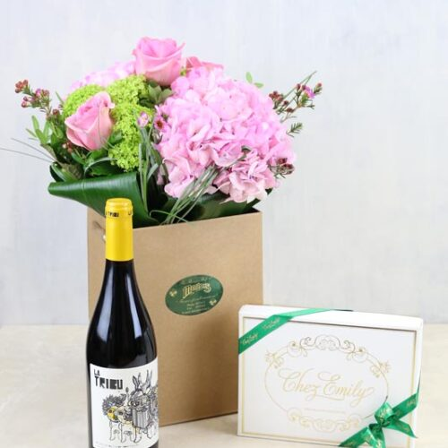 Gift Set Pink Hydrangea and Rose Bouquet with Red Wine & Chez Emily Irish Chocolates