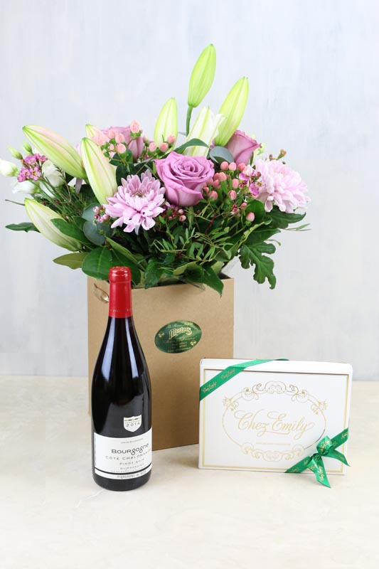 Gift Set Shady Lilac & a bottle of Vigerons De Buxy Bourgogne Pinot Noir and Chez Emily Irish Chocolates