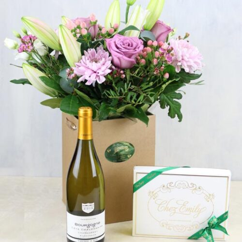 Gift Set Shady Lilac & a bottle of Vigerons de Buxy Bourgogne Chardonay and Chez Emily Irish Chocolates
