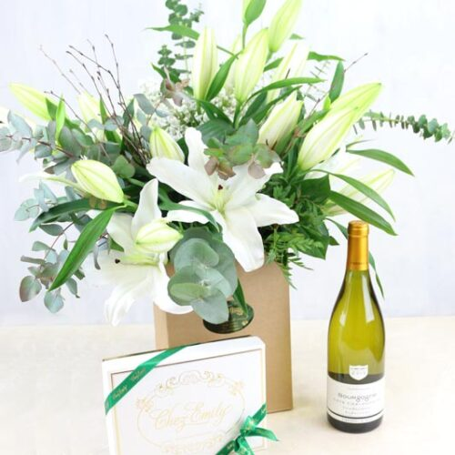 Gift Set White Lilies & a bottle of Vigerons de Buxy Bourgogne Chardonay and Chez Emily Irish Chocolates