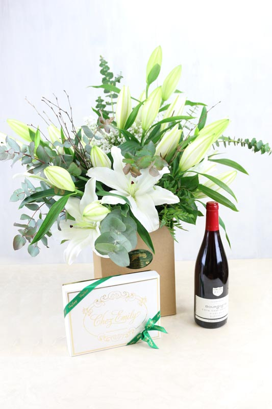 Gift Set Lily White & a bottle of Vigerons De Buxy Bourgogne Pinot Noir and Chez Emily Chocolates