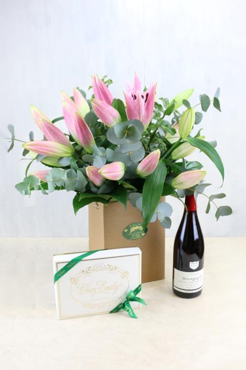 Gift Set Lily Pink & a bottle of Vigerons De Buxy Bourgogne Pinot Noir and Chez Emily Chocolates
