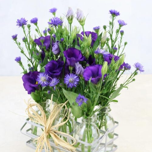 Blue Bottles - a set of 6 miniature bottles in a tray, filled with purple lisianthus