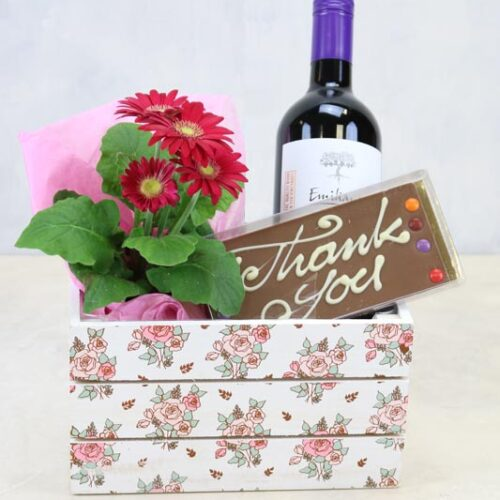 Just to say thank you - keepsake box, with a seasonal plant, bottle of Emiliana Merlot and Chez Emily Irish chocolate
