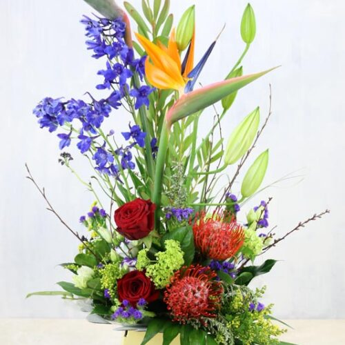 Exotic Arrangement - a colourful mix of contemporary flowers